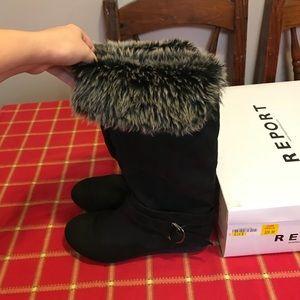 Report Syreeta Black Faux Suede Fur Trim Boots!!